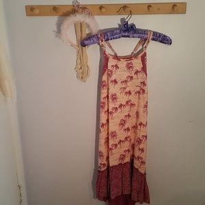 Roxy Girl Size 8 Purple Palm Tree Sun Dress